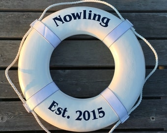 """20"""" Personalized Ring Buoy Nautical Decor Wedding Guestbook"""
