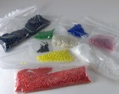 Destash, seed beads, colorful, glass beads, pink, blue, green, red