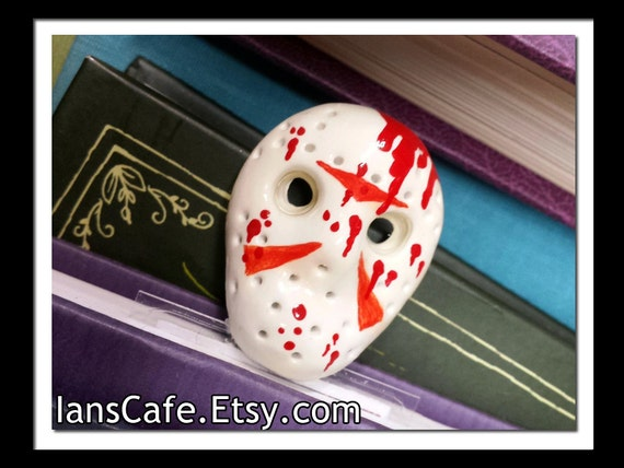 Friday the 13th Hockey Mask Bookmark - Bloody Haunted Horror - Camp Crystal Lake