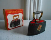Mid Century Small German Iron Pin Cushion with Measuring Tape/NOS
