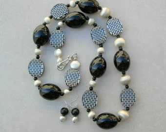 High Fashion Long Contemporary Necklace, Sterling Silver, Black Ceramic, & Patterned Lucite Beads, Statement Necklace Set by SandraDesigns