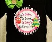 HUGE Christmas SALE  -  PREMADE Toddler/Youth Girls Christmas Shirt (On Dasher On Dancer On Daddy's Master and Visa)