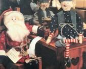 "Santa elf doll pattern Christmas vintage sewing pattern primitive 17"" Santa His Elves holiday dolls Leisure Arts leaflet full size patterns"