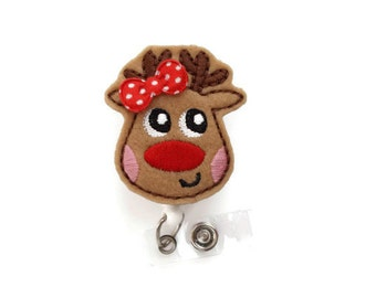 Ruby the Reindeer - Retractable ID Felt Badge Holder - Christmas Badge Reel - Nurses Badge Holder - Nurse Badge - Teacher Badge - RN Gift