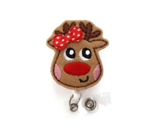 Ruby the Reindeer - Retractable ID Felt Badge Holder - Christmas Badge Reel - Nurses Badge Holder - Nurse Badge - Teacher Badge - RN Gift