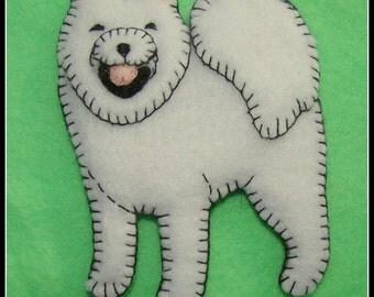 SAMOYED Christmas Ornament-slash-Refrigerator Magnet-Hand made and embroidered felt-Original design-great gift idea-Custom dog items.
