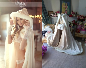 Sleeping Beauty Bridal Cape Champagne / Ivory Satin, fur wedding cloak 52/67 inch Semi-Royal-Train Handmade in USA
