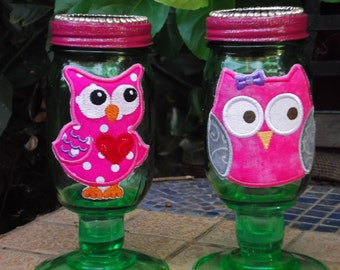 Owl Crystal Solar Mason Jars