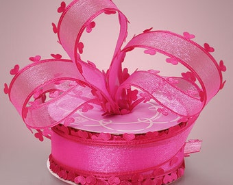 "1 1/2"" Hot Pink Sheer Heart Edged Ribbon Valentines Day Wedding Love"