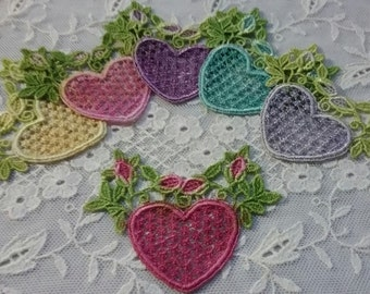 Crazy Quilt Lace, Lace Heart, Hand Dyed Venise Lace, Lace Embellishment, Heart, Applique, Scrap Book Supply
