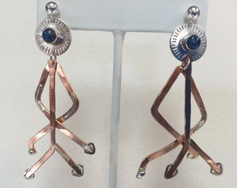 Blue Lapis Long Branch Earrings in Sterling Silver and Copper