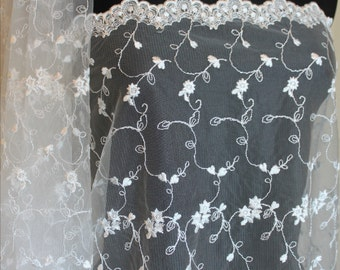 "50"" Off White Ivory Allover Floral Embroidered Netting Wedding Bridal"