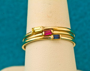 Natural Ruby Baguette Cut 14kt Gold Stacking Ring & July Birthstone, Ruby Ring, Ruby Stack Ring