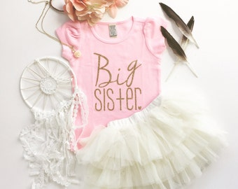 Big Sister tshirt   big Sis shirt   big sister tee   pregnancy announcement   big sisiter little sisiter   Paisley Prints original design