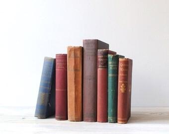 Antique Book Set, Classic Literature & Famous Author Biography Books Hard Bound