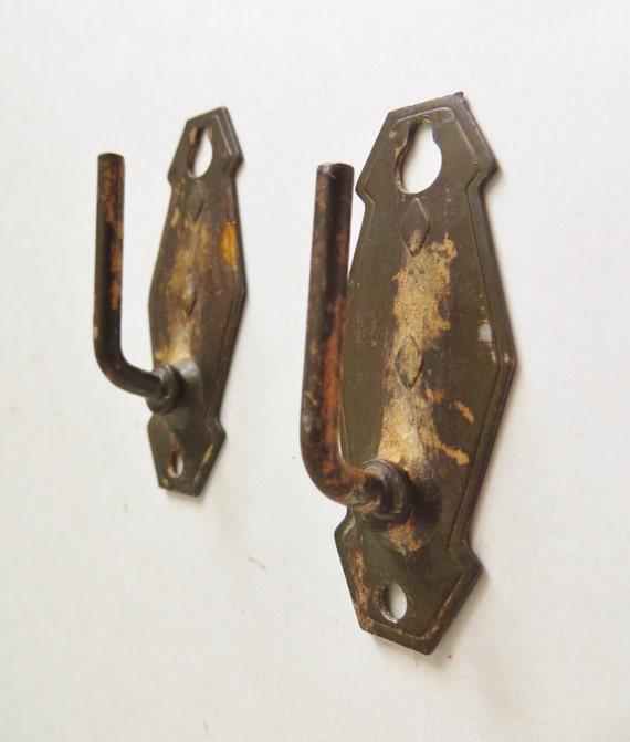 Vintage Brass Cafe Sash Rod Curtain Brackets