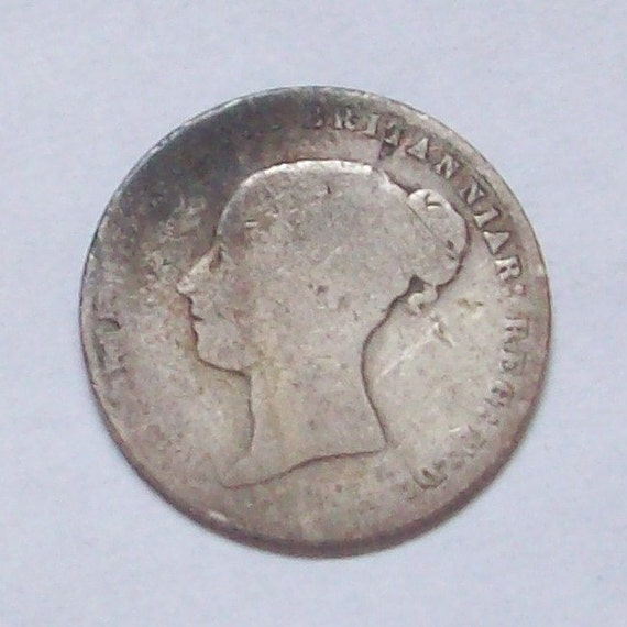 1865 Early Victorian Sterling Silver Sixpence Lucky Charm