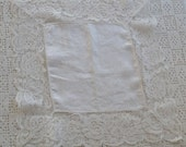 Vintage Handkerchief White Lace and Linen