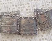 Vintage Bracelet Souvenir of Rome Silver Tone Links
