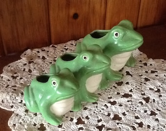 Frog Planter Trio Figurines Antique 1940's Art Deco Pottery