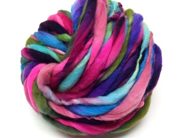Thick and thin super bulky yarn in hand dyed merino wool - 54 yards and 3.4 ounces, 96 grams