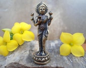 LAKSHMI Statue Tiny Brass Lakshmi Portable Meditation Altar Hindu Goddess of Abundance Wealth Fortune Tiny Standing Lakshmi Shrine Statuette