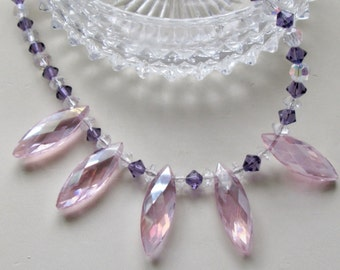 Sophisticated Lady Diva Necklace - Preciosa Cut Pink Fan Crystals - Chic - Stunning - Feminine - Valentine Gift - Cruise
