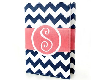 Navy Chevron Personalized Journal - You select, fabric, frame, and font - Monogrammed sketchbook - Personalized gift - Lined journal