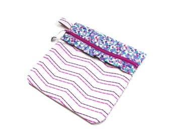Needlecraft storage pouch,  zipper pouch, purple magenta, for cross stitch project bag, makeup or cosmetic case, travel, craft storage
