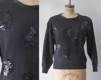Vintage 1980s Sweater Black Winter Sweater Black Sequined Sweater 1980s Clothing Womens Slouch Sweaters Size Medium Large