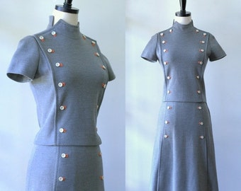 Vintage 1960s Dress Womens Vintage Cothing 1960s Fitted Dress Fall Fashion Double Breasted Dress Outfit Italian Dress Size Small Sm