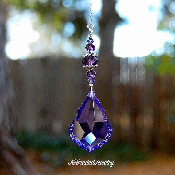 Hanging Purple Teardrop Prism Crystal By Jgbeadedjewelry