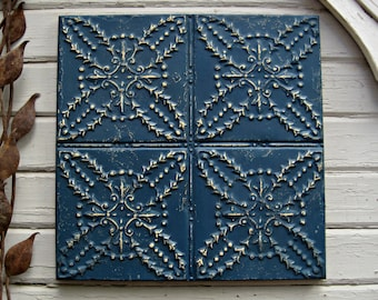Antique Tin Ceiling Tile. FRAMED 2x2 antique metal tile.  Vintage architectural salvage. Indigo blue wall decor. Old pressed tin.