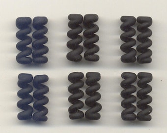 Tom's lampwork satin (etched) frosted black lava twist cylinder beads, drops, spacers 20mm, 2 beads, 1 pair, 97753-2
