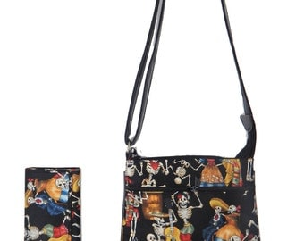 "A Cross Body Bag & A Matching Wallet With "" DAY Of The DEAD"" Gothic Halloween Pattern,  Cotton, New , (Only 2 Items))"