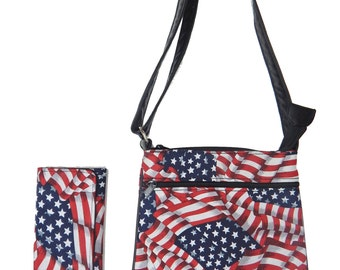 """A Cross Body Bag and   A Matching Wallet With """"AMERICAN FLAG """" Pattern, Cotton, New , (only 2 Items)"""