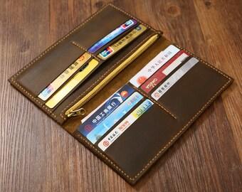 Personalized Distressed Leather Men Women long wallet / slim vertical bifold wallet / leather clutch card holder travel wallets  - W005LZM