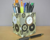 Pencil Cup With Working Clock, Fathers Day Gift, Industrial Chic, Desk Accessories, Small Desk Clock, Back To School