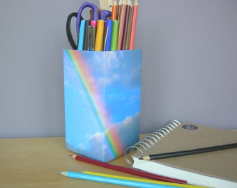 Rainbow Pencil Cup and Scissors Cup Combo, Desk Accessories, Desk Storage, Square Pencil Cup