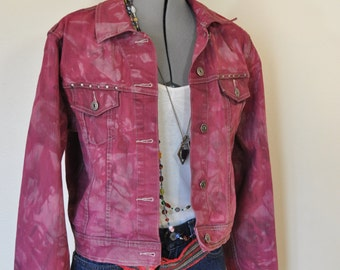Red Jrs. XL Cotton JACKET - Red Wine Raspberry Dyed Upcycled Riders Copper Trucker Jacket - Adult Womens Juniors Extra Large (42 chest)