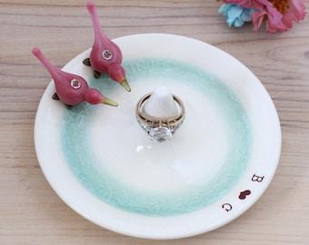personalized ring holder, engagement ring holder, custom ring dish