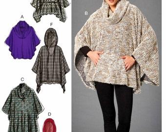 Easy Poncho Pattern, Hooded Poncho Pattern, Belted Poncho Pattern, McCall's Sewing Pattern 7255