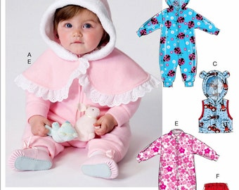 Infants' Fleece Bunting Pattern, Toddler's Fleece Cape Pattern, Toddler's Jumpsuit Pattern, Sz Nb to 18mo, Butterick Sewing Pattern 6372