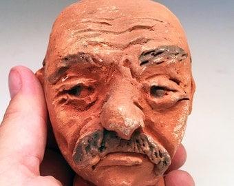 Miniature Face Jug Bald Man - southern style folk art by Kate Bertin