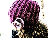 Knit hat, womens beanie, flower, minimalist, winter, warm, wool, handmade, rose, urban boho, Custom order