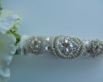 Beaded Pearl Crystal Bridal Bouquet Wrap Rhinestone Applique Embellishment