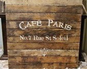 French Script Wood Sign - Wall Art - Wall Decor - Rustic Farmhouse Chic - Cafe Paris - Primitive Hand Painted Wood