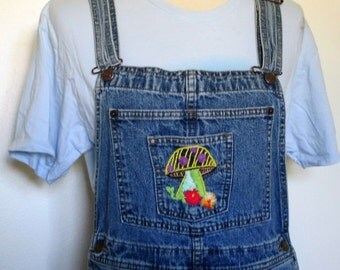 Vintage Bib Overalls / Levis Overalls / Bib Overalls / Mushroom / Embroidery / BlueJeans / Womens / Bibs / Hippie / Boho / Overalls