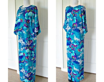 Vintage 70s pomare hawaiian full length dress - cool blues - doleman sleeves -