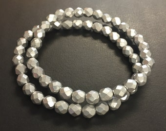 Beaded bracelets, set of 2 silver stacker bracelets, faceted matte silver czech glass beads on stretch cording